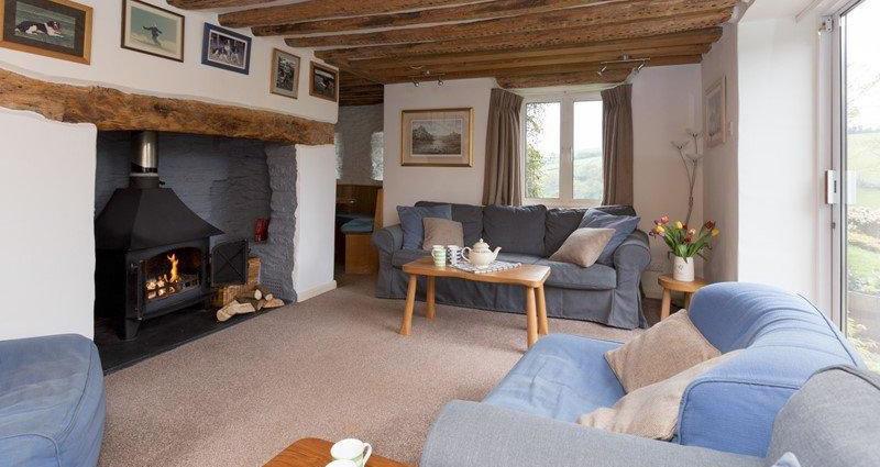 Cottage Lounge with Log Woodburner
